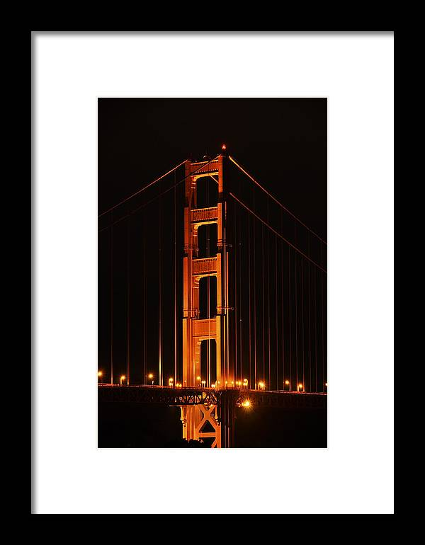 Architecture Framed Print featuring the photograph Golden Gate At Night by Gej Jones