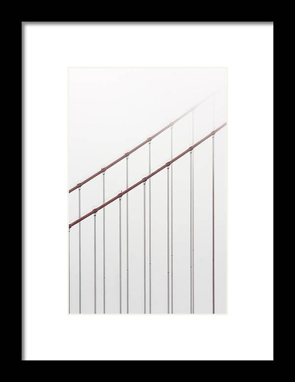 Scenics Framed Print featuring the photograph Golden Gate Bridge Cable Fog by Chuckschugphotography