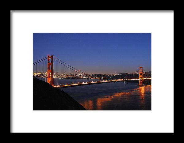 San Francisco Framed Print featuring the photograph Golden Gate Bridge On A Beautiful Winter Evening by Scott Lenhart