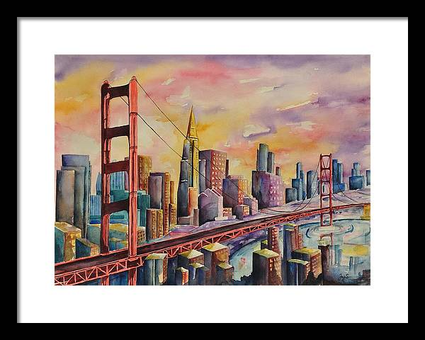 Cityscape Framed Print featuring the painting Golden Gate Bridge - San Francisco by Joy Skinner