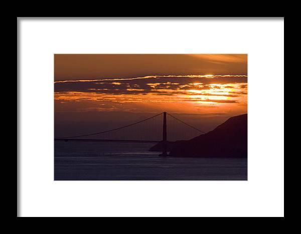 Sun Framed Print featuring the photograph Golden Gate Sunset by Scott Lenhart