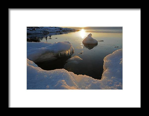 Sunrise  Lake Superior  Ice Formations Framed Print featuring the photograph Golden Glow by Sandra Updyke