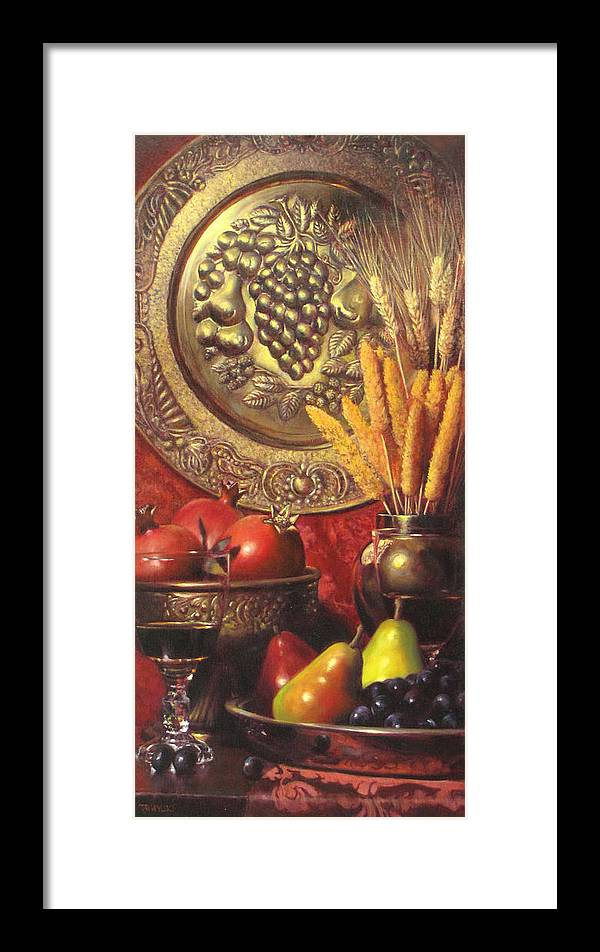 Wine Still Life Framed Print featuring the painting Golden Harvest With Red Wine by Takayuki Harada