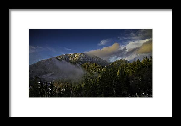 Mountains Framed Print featuring the pyrography Golden Hills Before Sunset. by Timothy Latta