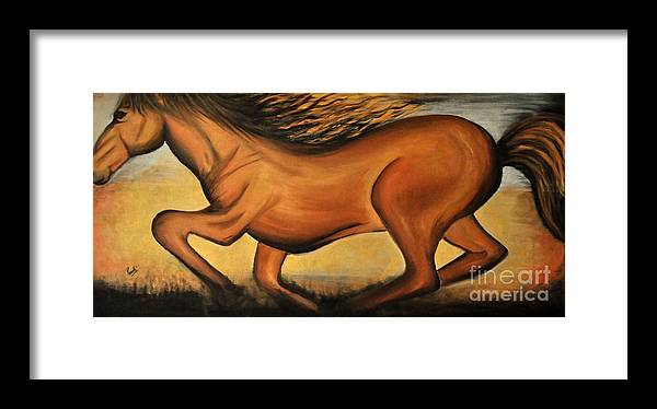 Horse Framed Print featuring the painting Golden Horse by Preethi Mathialagan