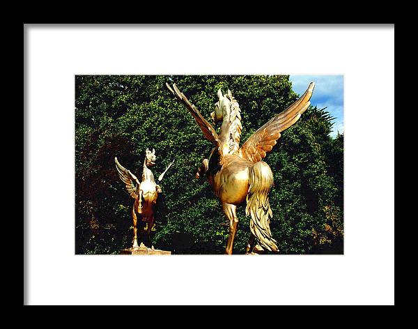 Winged Framed Print featuring the photograph Golden Horses by Charlie and Norma Brock