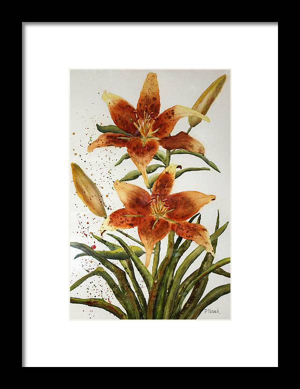 Lilies Framed Print featuring the painting Golden Lilies by Patricia Novack