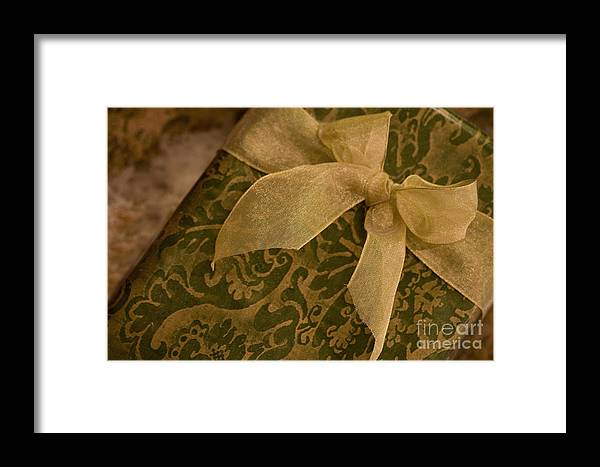 Present; Bow; Ribbon; Vintage; Gold; Green; Christmas; Decoration; Box; Xmas; Gift; Close Up; Celebration; Elegant; Festive; Holiday; Seasonal; Wrapped; Wrapping; Birthday Framed Print featuring the photograph Golden Present by Margie Hurwich