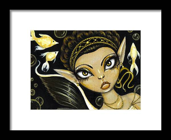 Fantasy Mermaid Framed Print featuring the painting Golden Sea Princess by Elaina Wagner