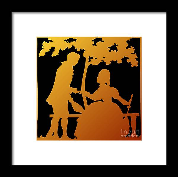 Will You Marry Me Framed Print featuring the digital art Golden Silhouette Garden Proposal Will You Marry Me by Rose Santuci-Sofranko