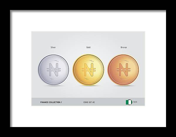 Golden, Silver And Bronze Coins  Realistic Metallic Nigerian Naira Coins  Set  Isolated Objects On Background  Finance Concept For Websites, Web