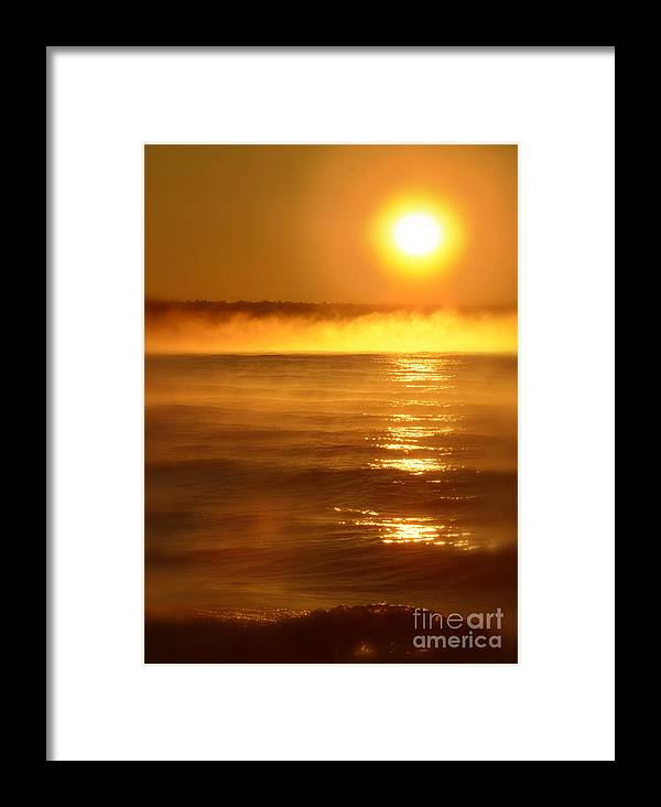 Lake Superior Framed Print featuring the photograph Golden Sunrise Over The Water by Jill Battaglia