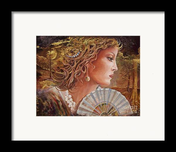 Female Portrait Framed Print featuring the painting Golden Wood by Sinisa Saratlic