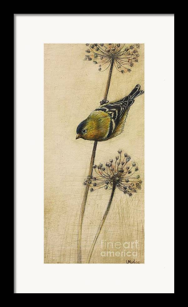 Goldfinch Framed Print featuring the drawing Goldfinch by Lori McNee
