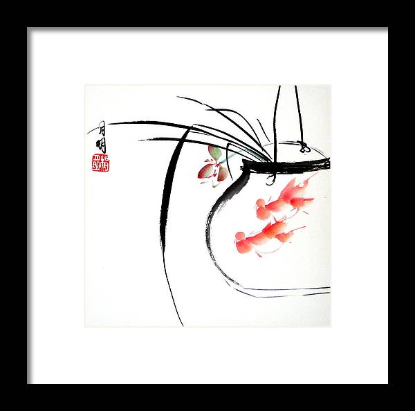Chinese Painting Framed Print featuring the painting Goldfish by Ming Yeung