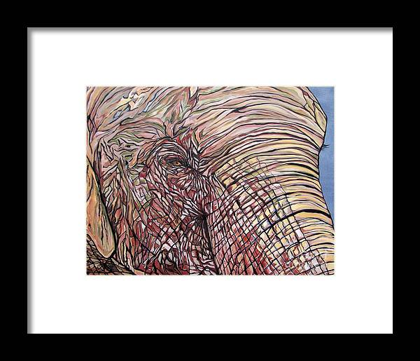 Elephant Framed Print featuring the painting Goldie by Aimee Vance