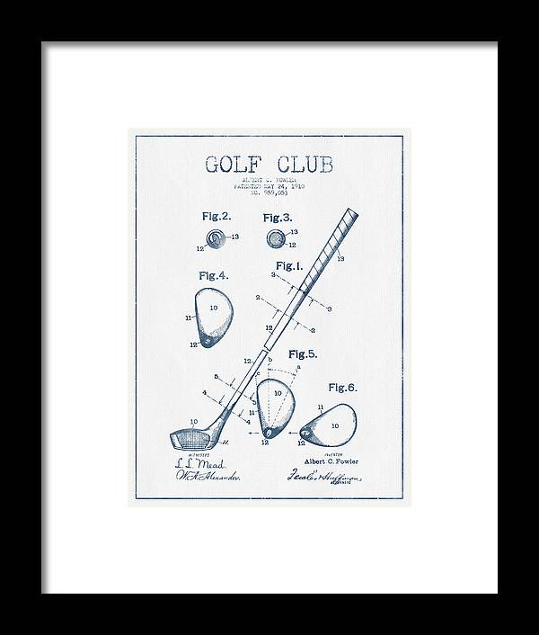 Golf Framed Print featuring the digital art Golf Club Patent Drawing From 1910 - Blue Ink by Aged Pixel