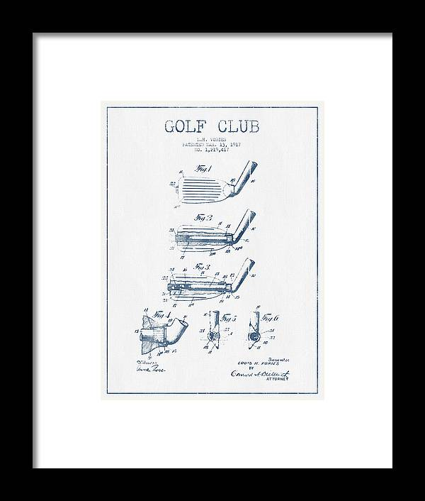 Golf Framed Print featuring the digital art Golf Club Patent Drawing From 1917 - Blue Ink by Aged Pixel