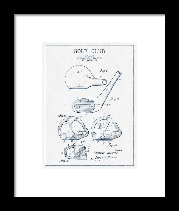 Golf Framed Print featuring the digital art Golf Club Patent Drawing From 1926 - Blue Ink by Aged Pixel