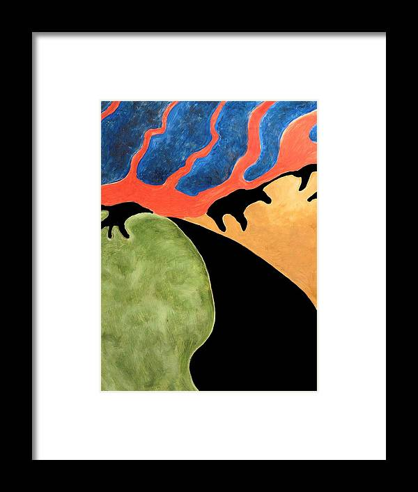 Abstract Framed Print featuring the painting Gombean Dream by Zodiak Paredes