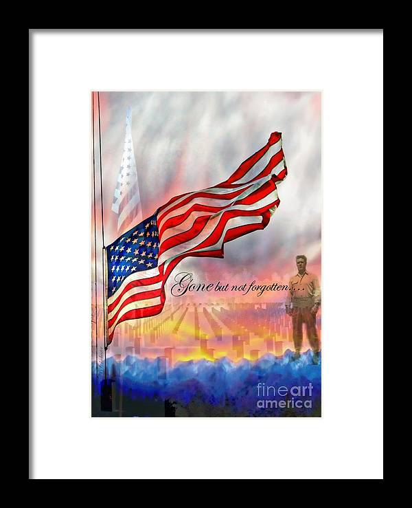 Flag Framed Print featuring the photograph Gone But Not Forgotten Military Memorial by Barbara Chichester