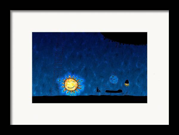 Abstract Framed Print featuring the drawing Good Night Sun by Gianfranco Weiss