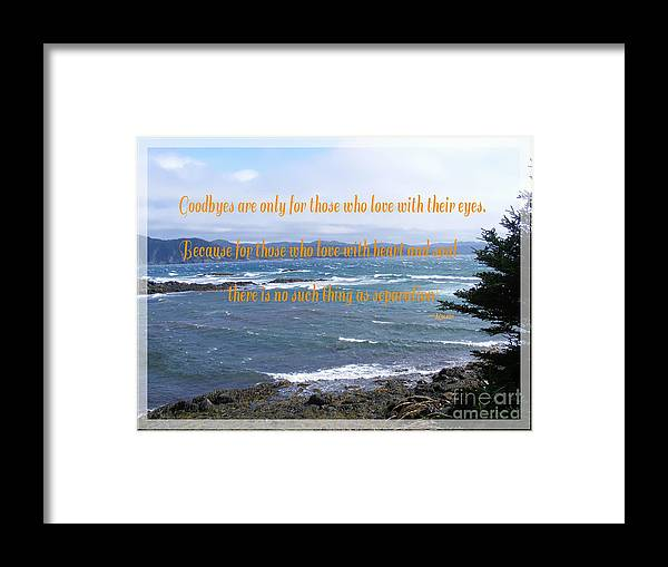 Goodbyes Rumi Quote Framed Print featuring the photograph Goodbyes Rumi Quote by Barbara Griffin