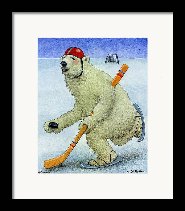 Will Bullas Framed Print featuring the painting Got Puck... by Will Bullas