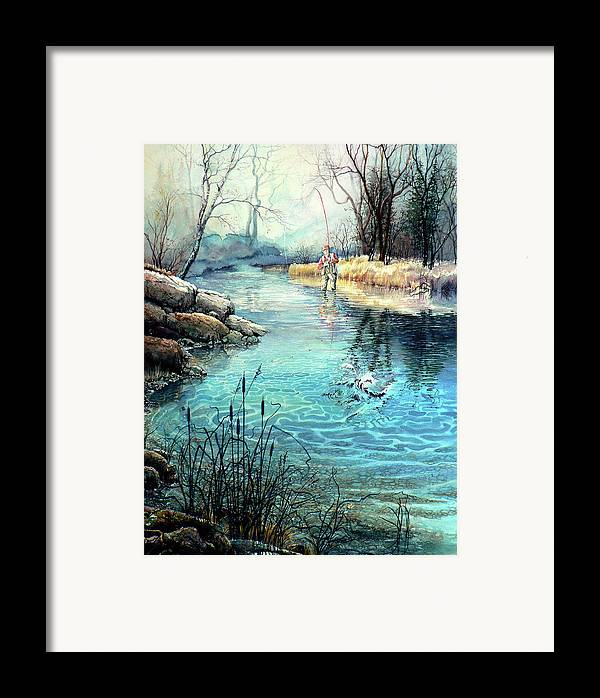 Fly Fishing Framed Print featuring the painting Gotcha by Hanne Lore Koehler
