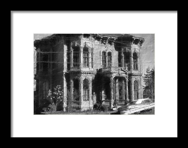 Framed Print featuring the digital art Gothic House Black And White by Cathy Anderson