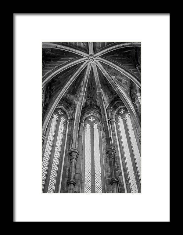 Door Framed Print featuring the pyrography Gothic Monastery by Ernesto Santos