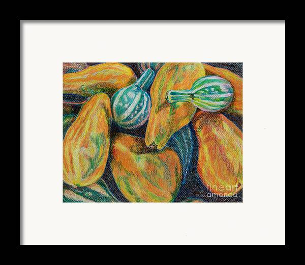 Gourd Framed Print featuring the painting Gourds For Sale by Janet Felts