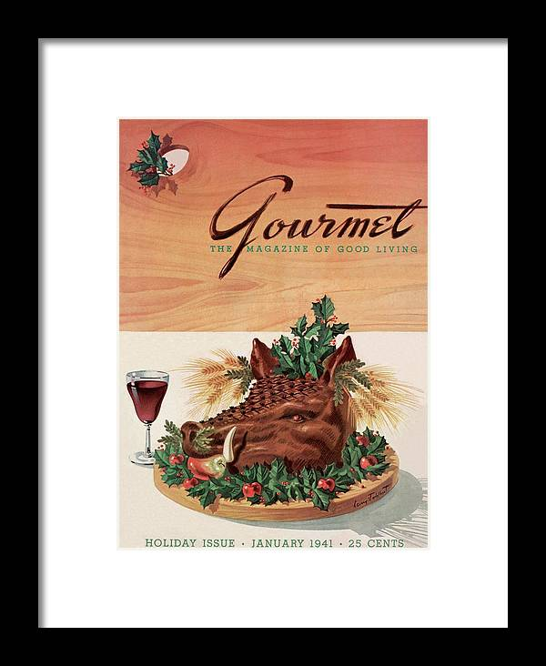 Fashion Framed Print featuring the photograph Gourmet Cover Featuring A Boar's Head by Henry Stahlhut