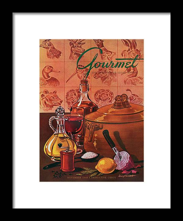 Illustration Framed Print featuring the photograph Gourmet Cover Featuring A Casserole Pot by Henry Stahlhut