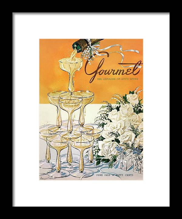 Entertainment Framed Print featuring the photograph Gourmet Cover Featuring A Pyramid Of Champagne by Henry Stahlhut