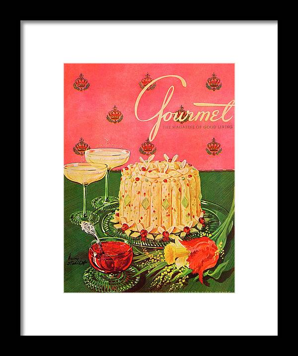 Illustration Framed Print featuring the photograph Gourmet Cover Illustration Of A Molded Rice by Henry Stahlhut
