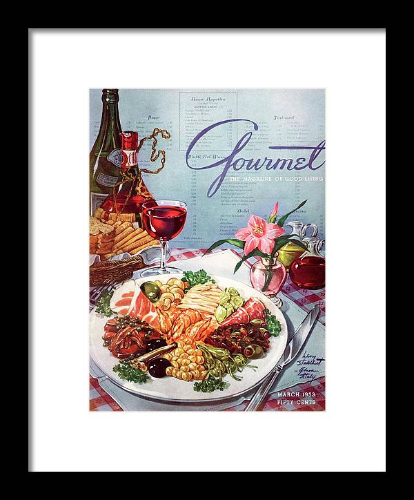 Food Framed Print featuring the photograph Gourmet Cover Illustration Of A Plate Of Antipasto by Henry Stahlhut