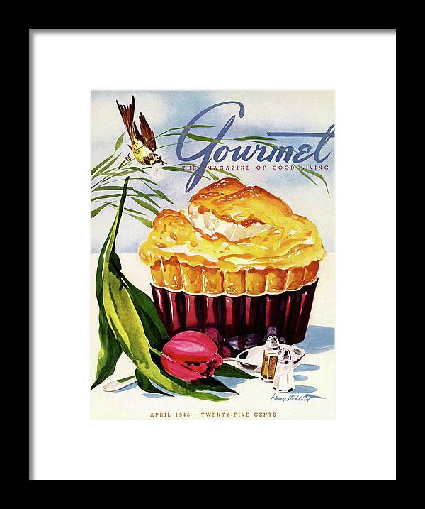 Illustration Framed Print featuring the photograph Gourmet Cover Illustration Of A Souffle And Tulip by Henry Stahlhut