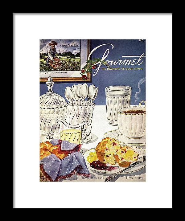 Food Framed Print featuring the photograph Gourmet Cover Illustration Of Cranberry Muffins by Henry Stahlhut