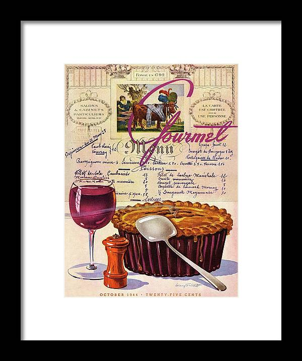 Food Framed Print featuring the photograph Gourmet Cover Illustration Of Deep Dish Pie by Henry Stahlhut