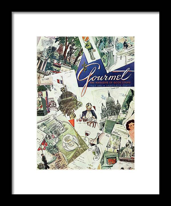 Illustration Framed Print featuring the photograph Gourmet Cover Illustration Of Drawings Portraying by Henry Stahlhut