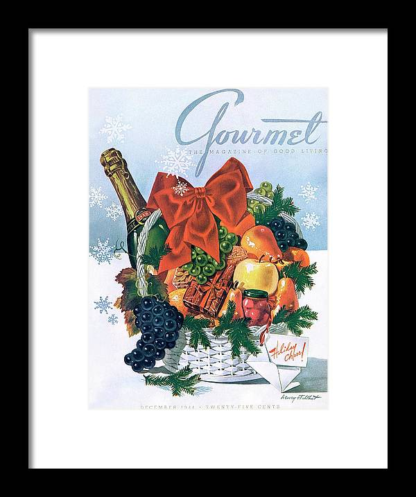 Food Framed Print featuring the photograph Gourmet Cover Illustration Of Holiday Fruit Basket by Henry Stahlhut