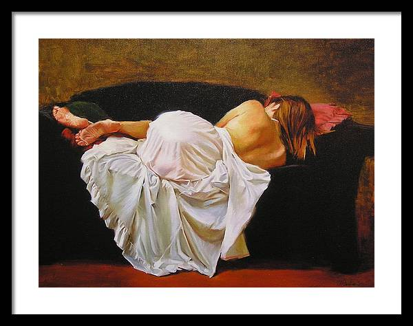 Reclining Figure Framed Print featuring the painting Gowned by Ron W McDowell