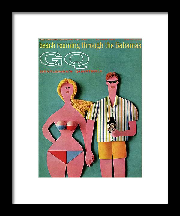Fashion Framed Print featuring the photograph Gq Cover Featuring A Paper Cut Out Couple by Robert Jackson