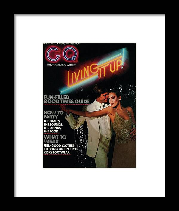 Dance Framed Print featuring the photograph Gq Cover Of A Couple In Disco Setting by Chris Von Wangenheim
