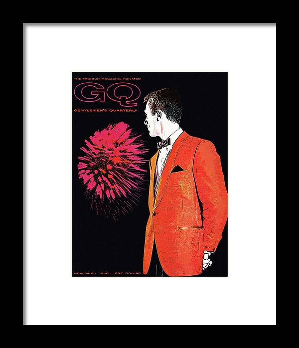 Fashion Framed Print featuring the photograph Gq Cover Of An Illustration Of A Man Wearing An by Leon Kuzmanoff