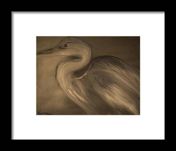 Blue Heron In Neutral Tones Framed Print featuring the painting Grace II by Kerri Mahan