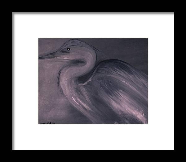 Blue Heron Framed Print featuring the painting Grace by Kerri Mahan
