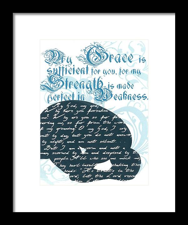 Silk Screen Framed Print featuring the drawing Grace Sufficient by Holly Carton