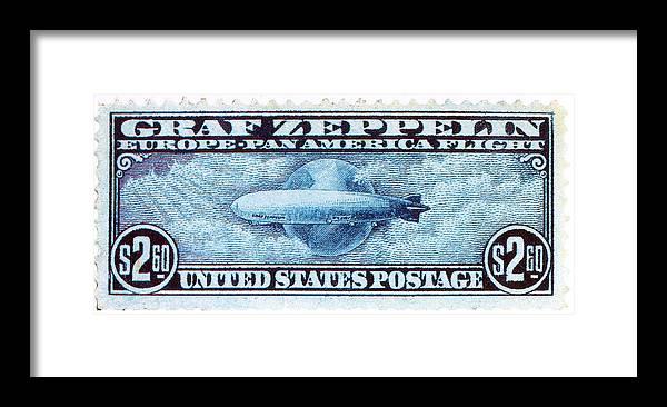 Graf Zeppelin, U s  Postage Stamp, 1930 Framed Print